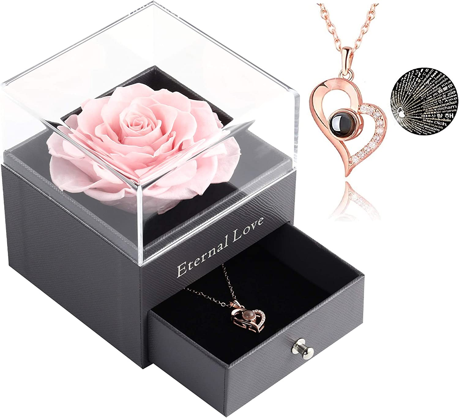 Preserved price Rose Drawer Animer and price revision with Special Necklace Fres Heart Handmade