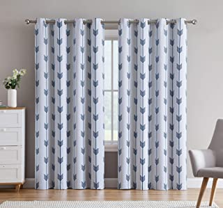 HLC.ME Arrow Printed Privacy Blackout Energy Efficient Room Darkening Thermal Grommet Window Curtain Drape Panels for Kids Bedroom - Set of 2 - Platinum White/Navy Blue - 84