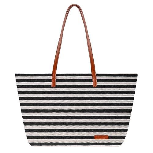 48e20ae47e Canvas Tote Bag ZLYC Women Beach Bag Stripe Shoulder Bag Large Hand Bag  Casual Shopper Bag