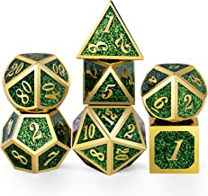 DNDND Metal Dice Set D&D,Glitter Green Heavy DND Dice with Free Metal Case for Role Playing Games Dungeons and Dragons