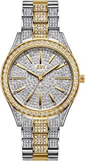 JBW Luxury Women's Cristal-34 J6383 0.12 ctw 12 Diamond Plated Wrist Watch with Stainless Steel Bracelet, 34mm