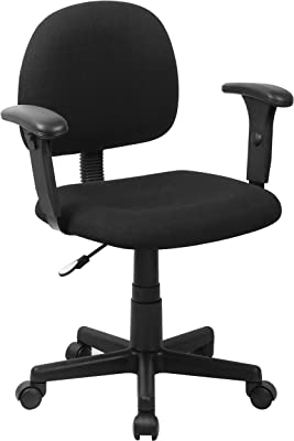 Flash Furniture Mid-Back Black Fabric Swivel Task Office Chair with Adjustable Arms