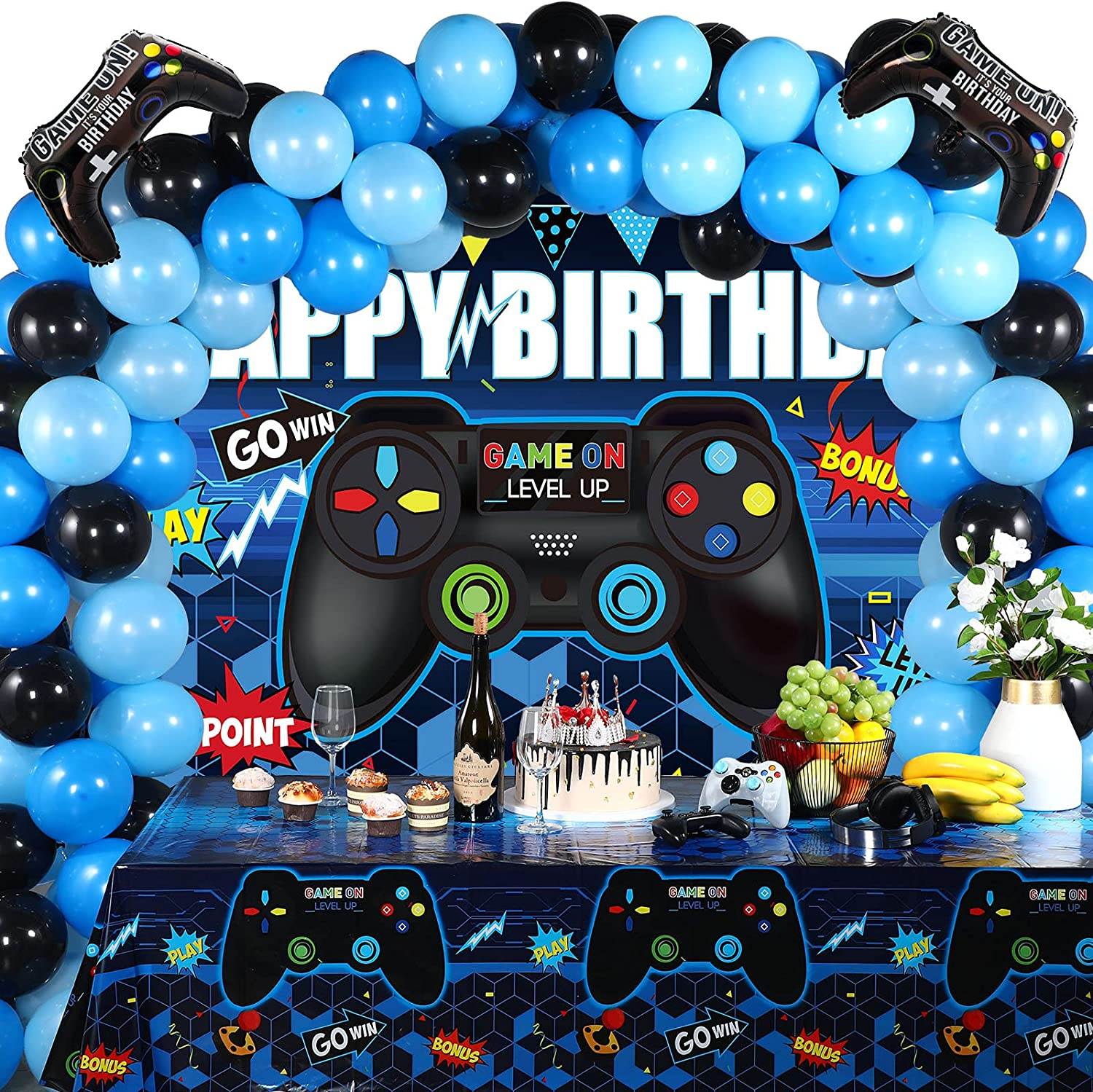 Video Game Birthday Party Decorations Set Gaming Happy Birthday Supplies Includes Video Game Backdrop, Table Covers, Multi-Color Balloons and Foil Gamer Balloons for Birthday Party (Blue and Black)