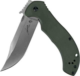 Kershaw-Emerson CQC-10K Pocket Knife (6030); 3.5 In Blade; 8Cr14MoV Steel; Stonewash Finish; Bowie-Style Blade; Curved Handle; Olive Drab Cameo Finish; Reversible Clip, and Frame Lock; 5 oz.