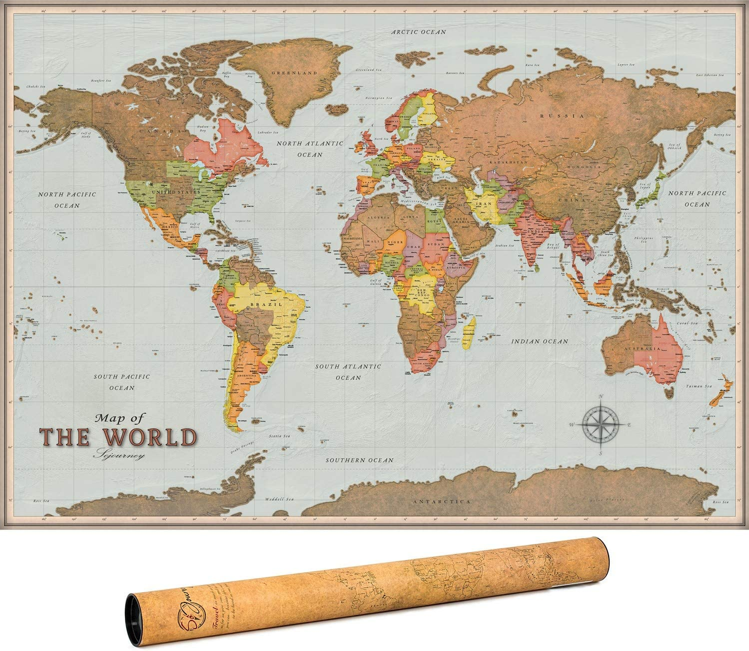 Scratch Off Map of The World - Premium Edition - World Scratch Off Map with Outlined Canadian and US States, XL Large Size 33 x 24, World Map Scratch Off Poster with Highly Detailed Cartography