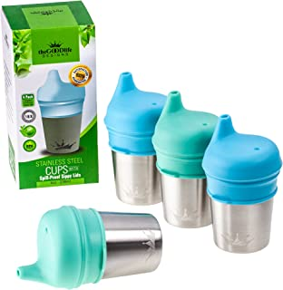 Stainless Steel Cups with Silicone Sippy Cup Lids for Kids Toddlers Babies 8oz | Stainless Steel Sippy Cups for Home and Outdoors | BPA Free Metal Drinking Glasses (4-Pack)