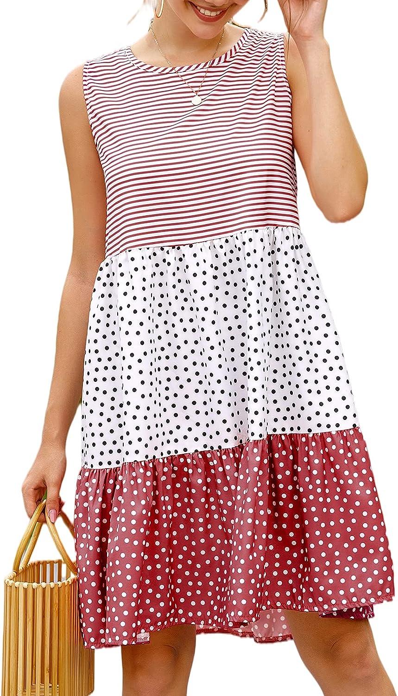 QANSI Summer Dresses for Women Sleeveless Midi Dresses Floral Casual Stylish Short Dress