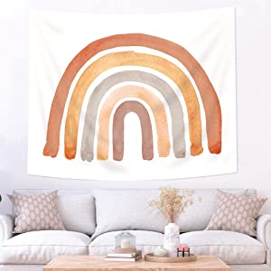 Imirell Muted Rainbow Orange Grey Tapestry 51Hx59W Inches Cute Boho Abstract Watercolor Rainbow Wall Decor for Teen Girls Art Hanging Bedroom Living Room Dorm Wall Blankets Home Decor Fabric