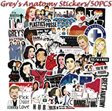 50pcs Grey's Anatomy TV Show Fans Stickers for Laptop Water Bottle Luggage Snowboard Bicycle Skateboard Decal for Kids Teens Adult Waterproof Aesthetic Stickers (Grey's Anatomy)