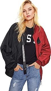 Women's Casual Lightweight Color Block Bomber Jacket