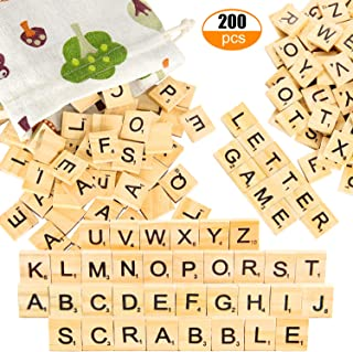 PINOWU 200pcs Wooden Letter Tiles for Scrabble Crossword Game Wood Scrabble Letters Replacement for DIY Craft Gift Decoration Scrapbooking and Making Alphabet Coaster