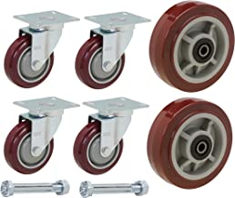 U-Boat Cart Caster and Wheel Replacement Kit   Includes 4 Corner Casters and 2 Center Wheels with Axles and Mounting Bolts