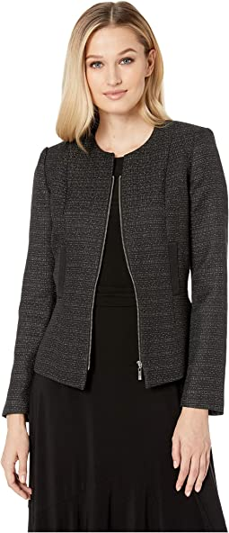 Tweed Zip Jacket with Metallic Detail
