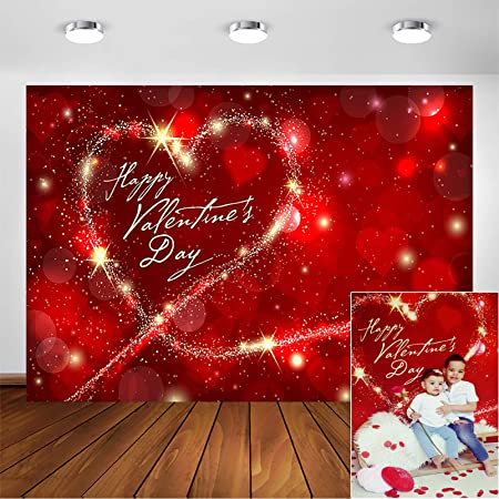7x5ft Vinyl Photography Backdrop Valentines Day Romantic Background Two Red Hearts in Champagne Bubbles Scene Photo Background Children Baby Adults Portraits Backdrop