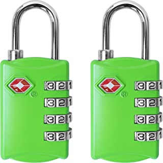 TSA Luggage Locks (2 Pack) - 4 Digit Combination Steel Padlocks - Approved Travel Lock for Suitcases & Baggage - Green