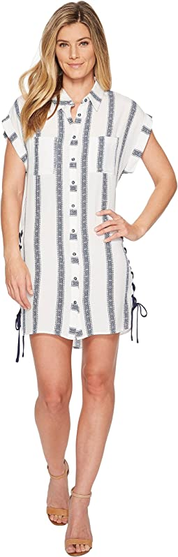 Miss Me - Stripe Button Down Short Dress