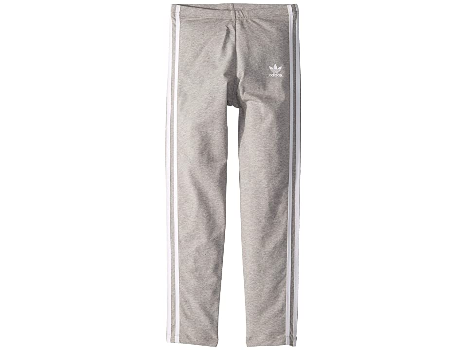 Image of adidas Originals Kids 3-Stripes Leggings (Little Kids/Big Kids) (Medium Grey Heather/White) Girl's Casual Pants
