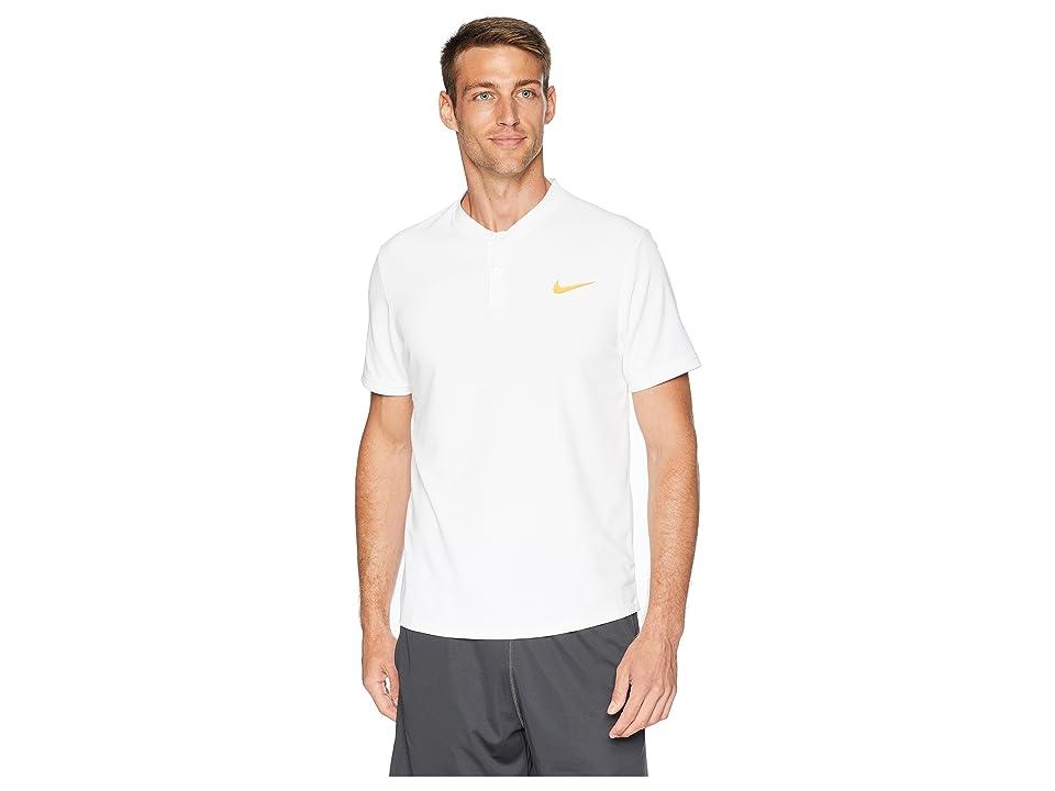 Nike Court Dry Advantage Solid Tennis Polo (White/White/Gold Leaf) Men