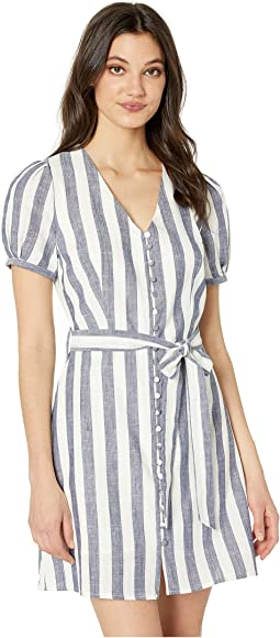 Buttoned Down Striped A-Line Dress