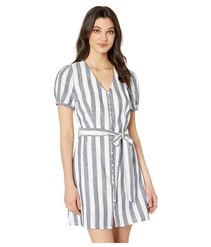 J.O.A. Buttoned Down Striped A-Line Dress (Navy/White) Women