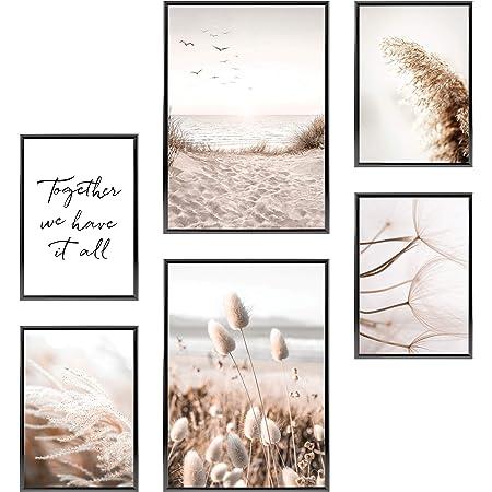 Heimlich® Tableau Décoration Murale - sans Cadres - Set de Poster Premium pour la Maison, Bureau, Salon, Chambre, Cuisine - 2 x (30x42cm) et 4 x (21x30cm)   »Mindful Beige Beach «