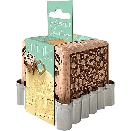SCRAP COOKING 5139 Tampon Pâtisserie en Bois à Motifs Décoratifs Maison-avec 1 Découpoir Emporte-Pièce Biscuit & Cube Déco avec 5 Faces Gravées en Relief-Moule Décoration-5139