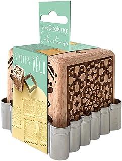 SCRAP COOKING 5139 Tampon Pâtisserie en Bois à Motifs Décoratifs Maison-avec 1 Découpoir Emporte-Pièce Biscuit & Cube Déco...