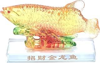 LHR trading inc Chinese Goldfish Arowana Feng Shui Golden Fish Figurine Wealth Luck Prosperity Sculpture