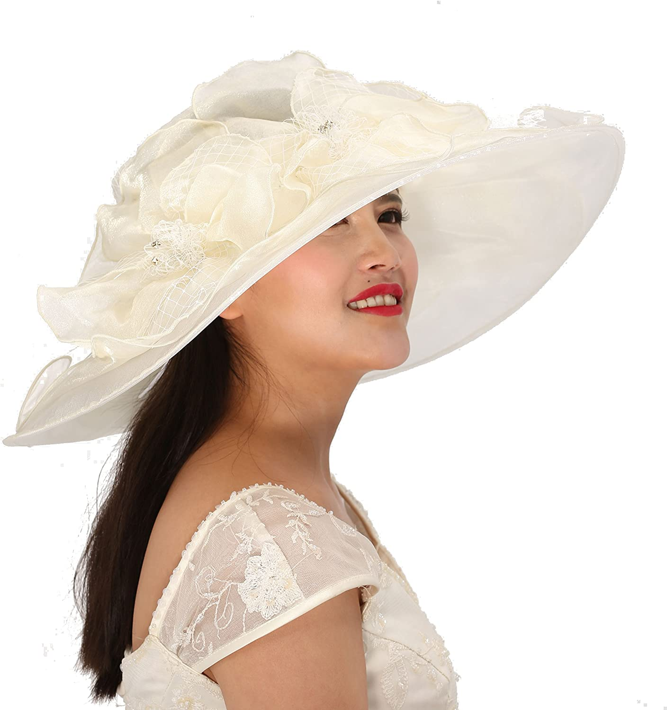 18  Wide Brim Organza Hat With Rhinestone For Church,Eastern,kentukey Derby Ivory