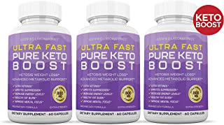 Ultra Fast Pure Keto Boost Pills Advanced BHB Ketogenic Supplement Exogenous Ketones Ketosis for Men Women 60 Capsules 3 Bottles