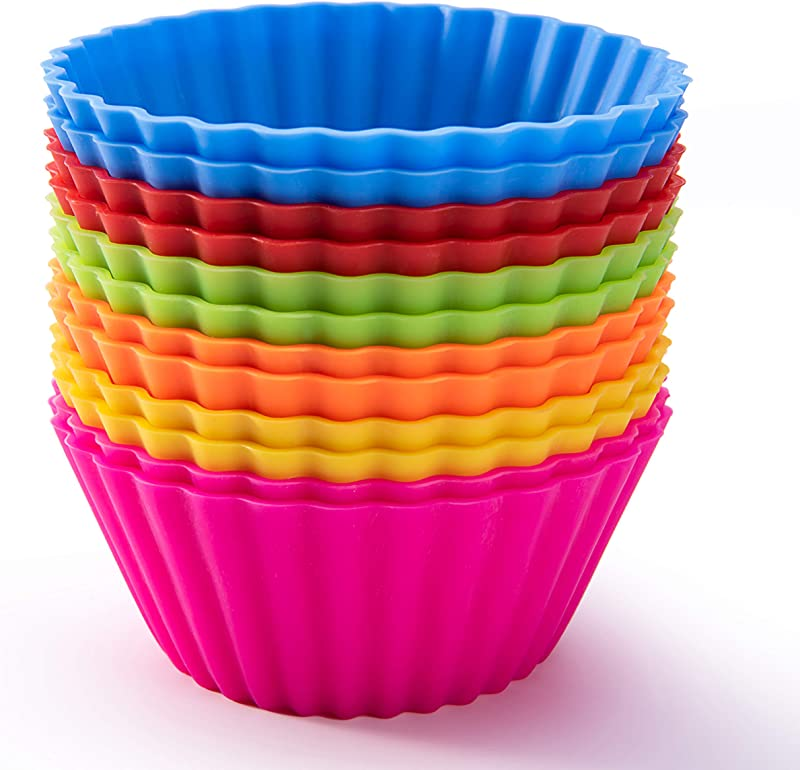 Silicone Baking Cups SAWNZC Reusable Cupcake Liners Non Stick Muffin Cups Cake Molds 12 Packs In 6 Rainbow Colors