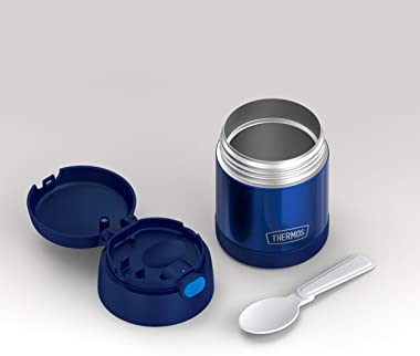 THERMOS FUNTAINER 10 Ounce Stainless Steel Vacuum Insulated Kids Food Jar with Folding Spoon, Navy