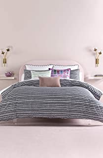 Kate Spade New York Scallop Row King Duvet Set Bedding, Full, Charcoal