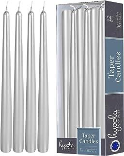 شمع مخروطی فلزی Hyoola 12 Pack Tall - شمع فلزی 10 اینچی نقره ای ، بدون قطره ، شمع شام بدون درز - موم پارافین با پارچه های پنبه ای