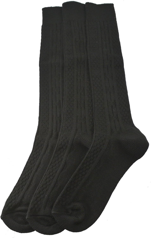Sierra Socks Women's Girl's Acrylic Cable Knit Knee High 3 Pair Pack