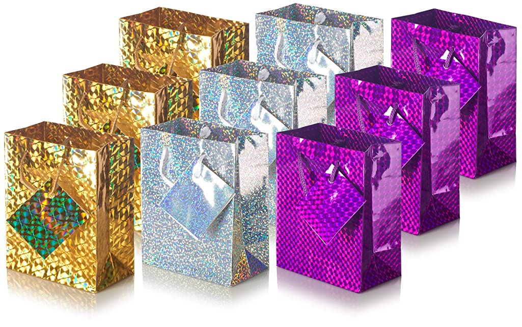Small Holographic Gift Bag with Rope Handle (3 of Each Color - Gold, Purple, Silver) 9 Pack Size Bag (4.38 X 5.38 X 2.5)