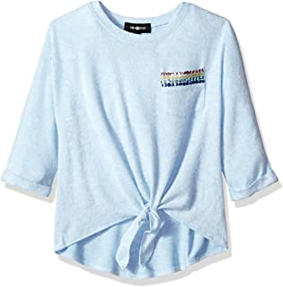 Girls' Tie Front Pocket Tee-Shirt with Sequin