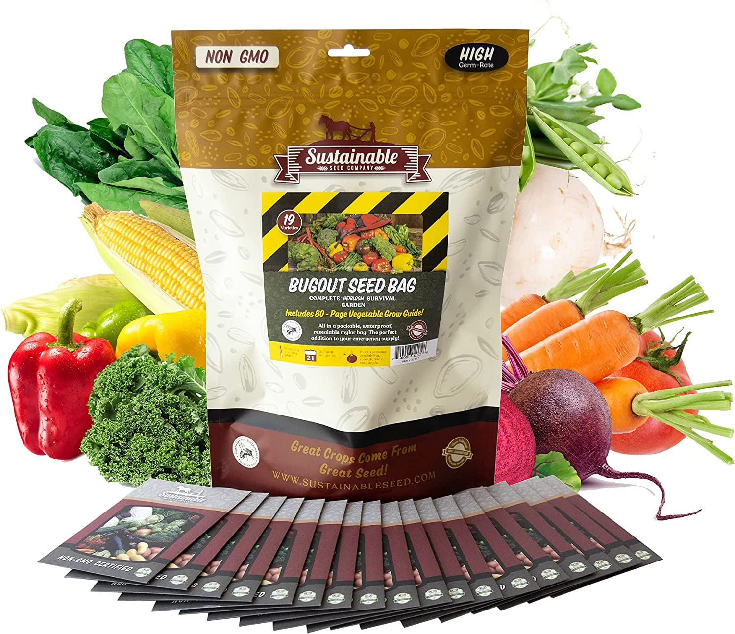 Bug Out Bag Survival Garden Vegetable & Herb Seeds - ~12,000 Seeds - Collection of 19 Heirloom Seed Varieties for Emergency Seed Vault - Bean, Beet, Carrot, Corn, Kale, Onion, Pepper, Squash & 11 More
