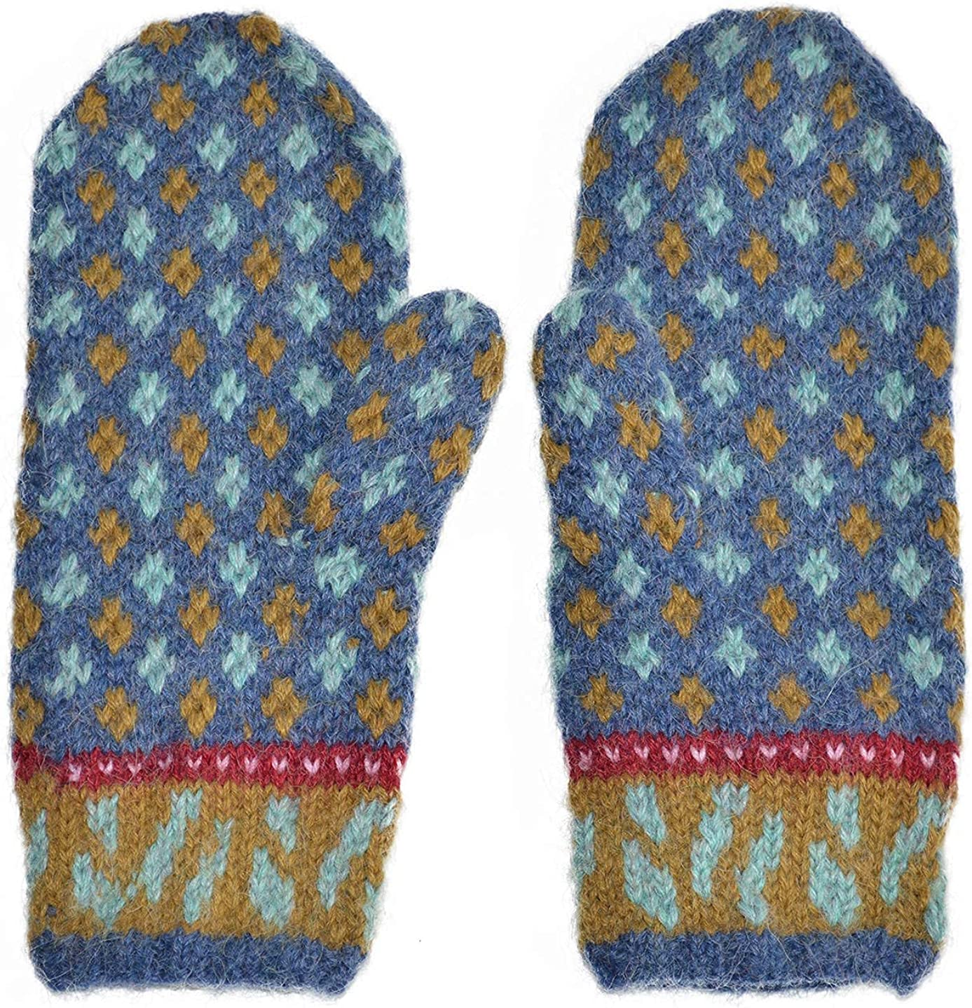 Invisible World Women's Alpaca Wool Mittens Knitted Winter Colorful Cold Weather Harumi