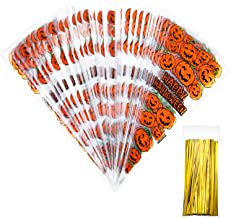 100 Counts Pumkin Cone Bag Halloween Pumpkin Patterned Cone Cellophane Bags Treat Candy Bags with 100 Pieces Gold Twist Ties for Halloween Party Favor (color A, Halloween)