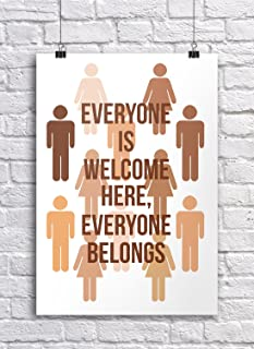 JSC388 Everyone is Welcome Classroom Poster | 18-Inches by 12-Inches | Premium 100lb Gloss Poster Paper