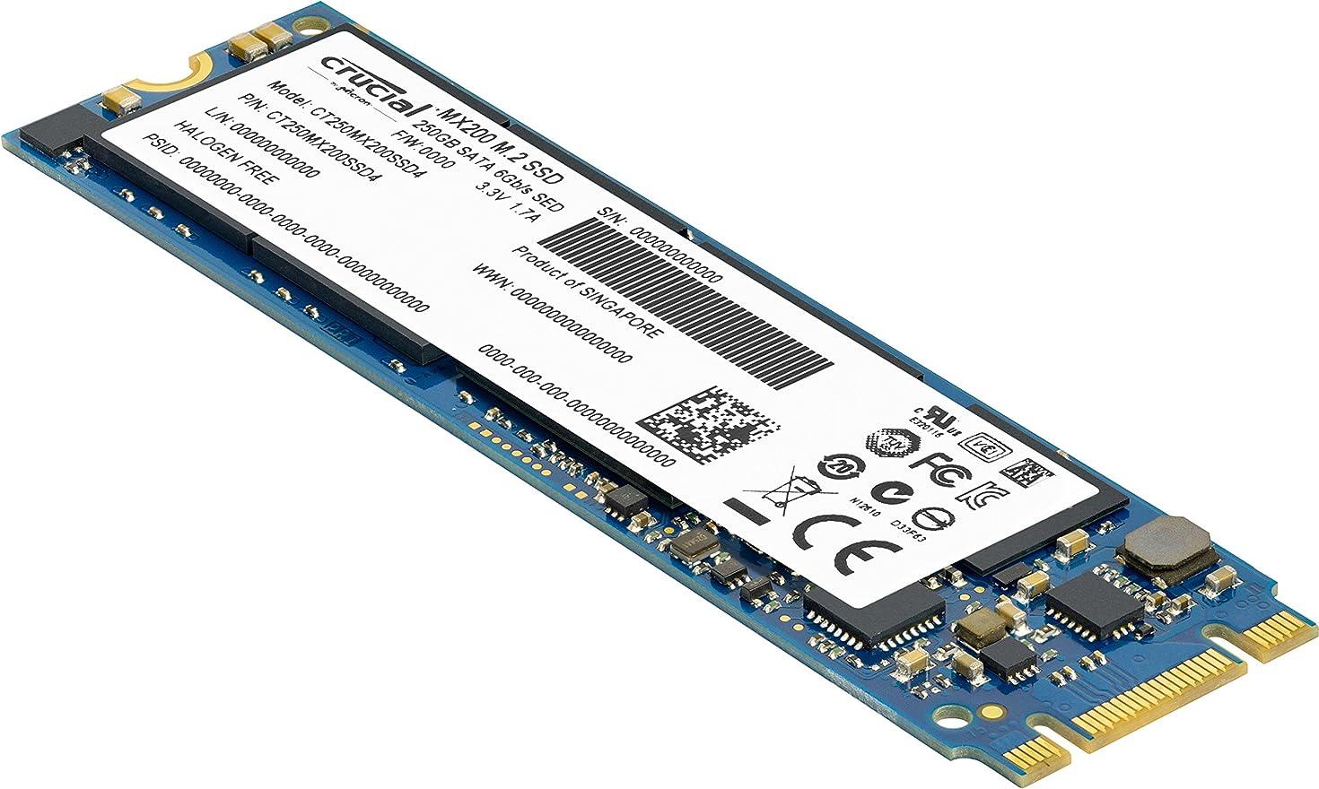 Crucial MX200 250GB M.2 (Type 2280) 250GB Internal SSD SATA 6.0Gb/s 555 MB/s Read, 500 MB/s Write [PN: CT250MX200SSD4]