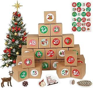 MEIXI Calendriers de l'Avent, 24 Boites Cadeau Noël, avec 1-24 Autocollants, DIY Boîtes pour Calendrier de l'Avent à Rempl...