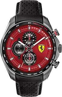 Ferrari Men's SPEEDRACER Stainless Steel Quartz Watch with Leather Calfskin Strap, Black, 22.5 (Model: 0830650)