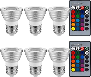 6 Pack 3W Multi-Color E26 LED Bulbs, Dimmable RGB floodlight Bulbs with 2 Remote Controllers, Color Changing Reflector, LE...