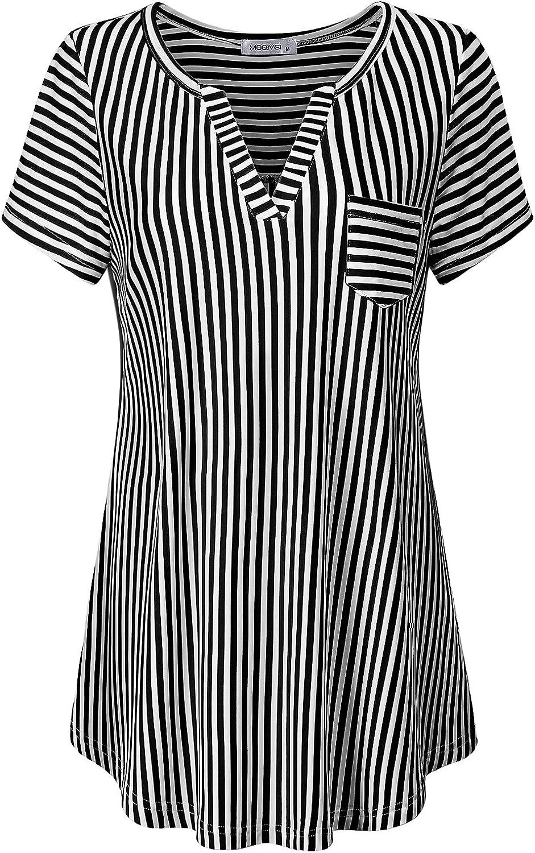 MOQIVGI Women's Summer Stripe Vneck Short Sleeve Blouse Tops