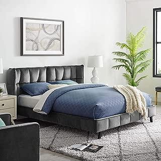 Modway Makenna Queen Upholstered Velvet Platform Bed, Gray
