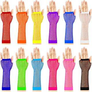 TecUnite 12 Pairs Nylon Colored Fingerless Fishnet Gloves for 80s Party Supplies and Costume Accessories (Long)