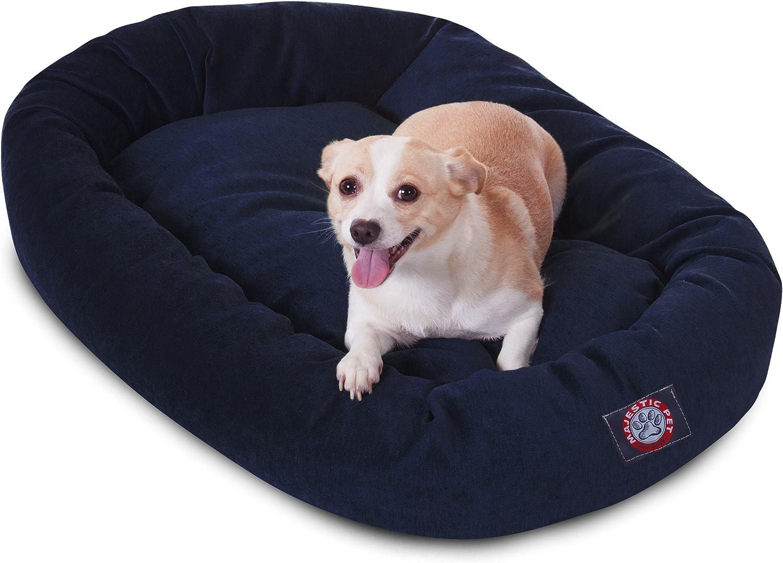 Majestic Pet 32Inch Navy MicroVelvet Bagel Dog Bed