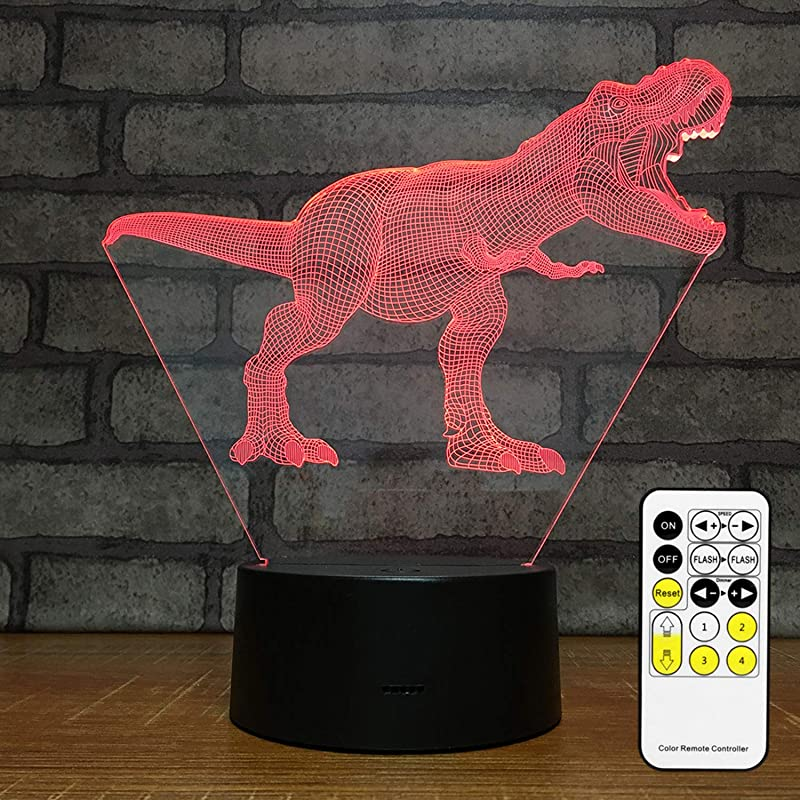 MH Zone T REX 3D Night Light For Kids Night Lights Bedside Lamp 7 Colors With Smart Touch Changing Remote Control The For Kids Girls Boys T Rex 1